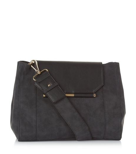 Black Suedette Shoulder Bag | New Look