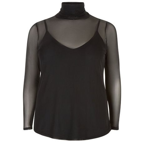 Curves Black 2 in 1 Mesh Funnel Neck Top | New Look