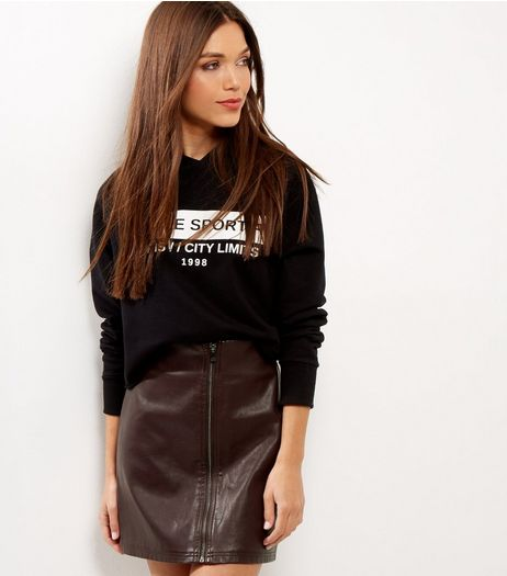 Burgundy Zip Front Leather-Look Skirt  | New Look