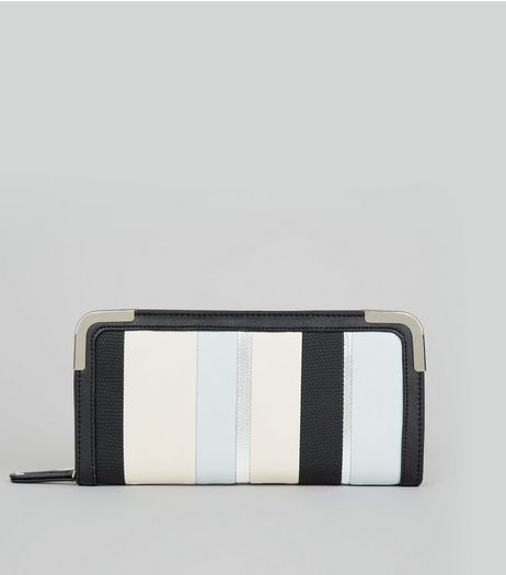 Blue Metallic Stripe Metal Trim Purse | New Look