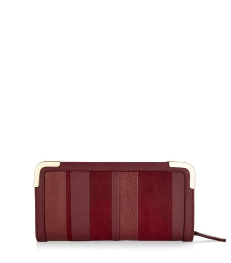Burgundy Panelled Stripe Purse | New Look