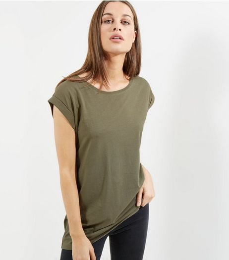 Tall Olive Green Rolled Sleeve Boyfriend T-shirt | New Look