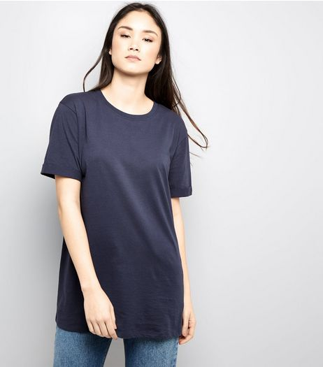 Tall Navy Rolled Sleeve Boyfriend T-shirt | New Look