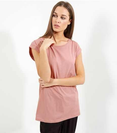 Tall Pink Rolled Sleeve Boyfriend T-shirt | New Look