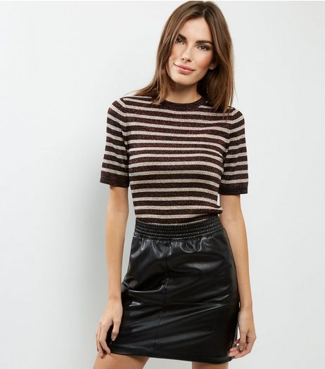 Black Leather-Look Elasticated Waist Mini Skirt  | New Look
