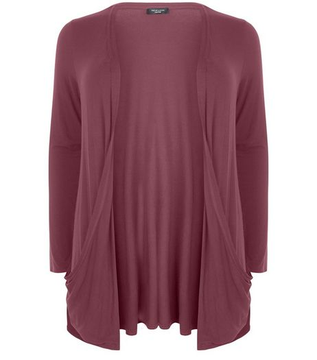 Curves Burgundy Boyfriend Cardigan  | New Look