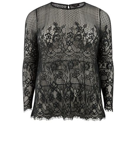 Curves Black Lace Scallop Hem Top | New Look