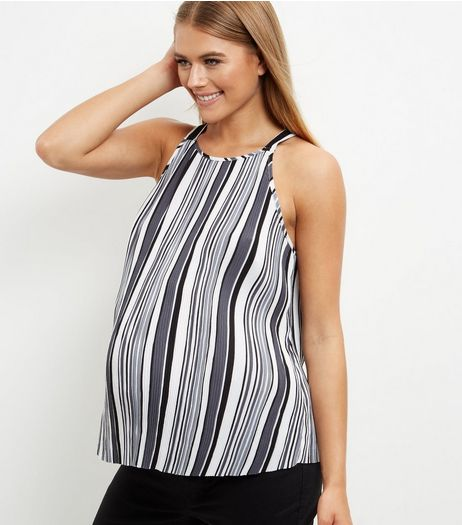 Maternity Black Stipe Top  | New Look