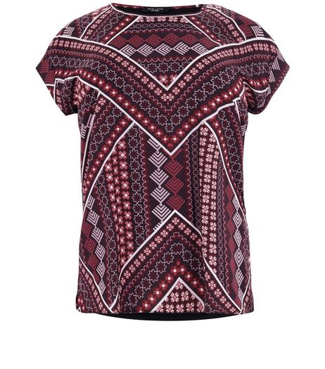 Curves Black Tile Print Front Woven T-Shirt  | New Look