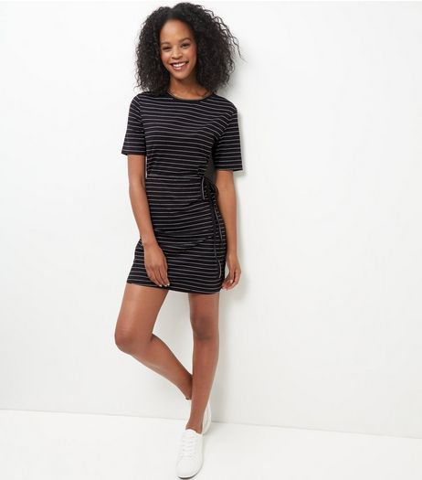 Black Stripe Tie Waist Tunic Dress  | New Look