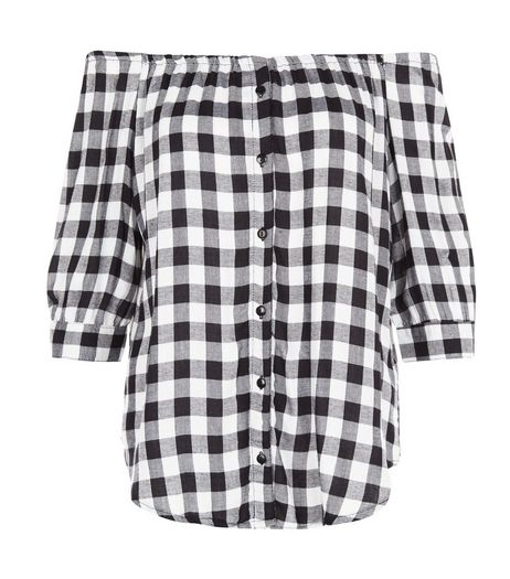 Influence Black Gingham Check Bardot Neck Shirt | New Look