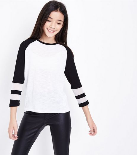 Teens Black Raglan Sleeve Mesh Panel Top  | New Look