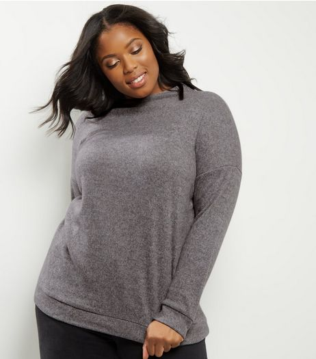 Curves Dark Grey Brushed Funnel Neck Jumper | New Look