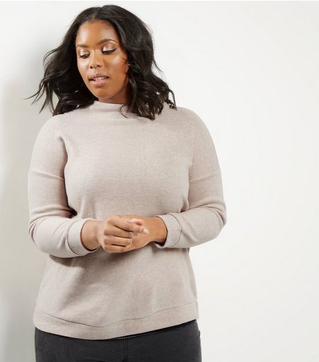 Curves Camel Brushed Funnel Neck Jumper | New Look