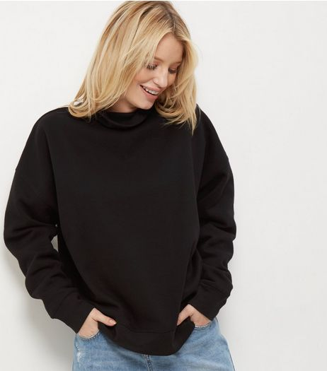 Black Funnel Neck Long Sleeve Sweater  | New Look