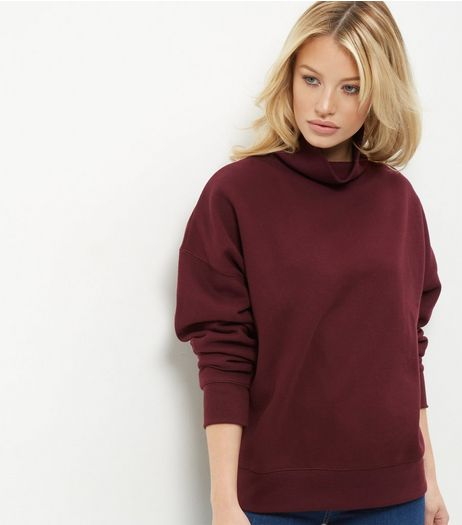 Burgundy Funnel Neck Long Sleeve Sweater  | New Look