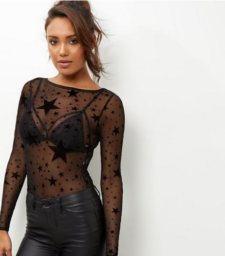 Black Mesh Star Print Long Sleeve Bodysuit  | New Look