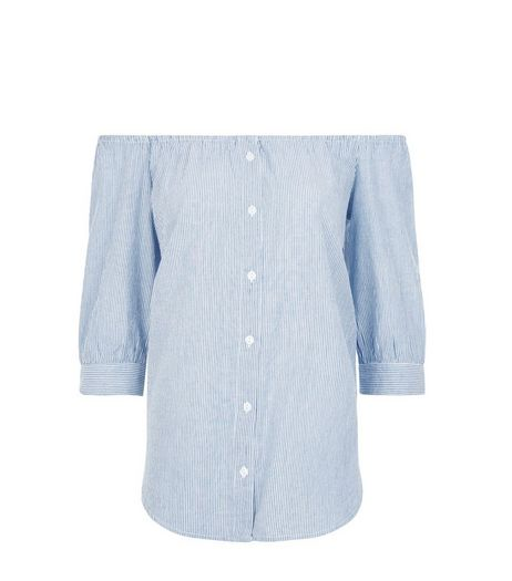 Influence Blue Bardot Neck Shirt | New Look