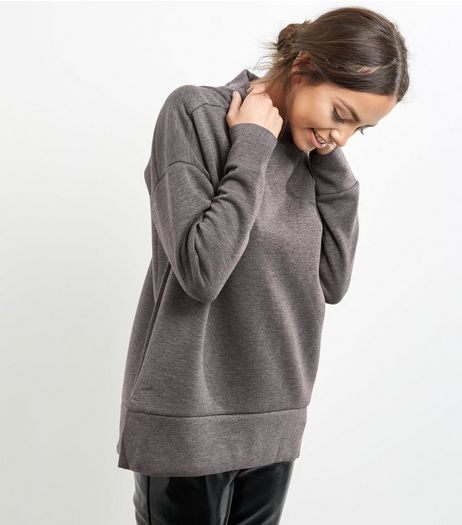 Dark Grey Funnel Neck Long Sleeve Sweater  | New Look