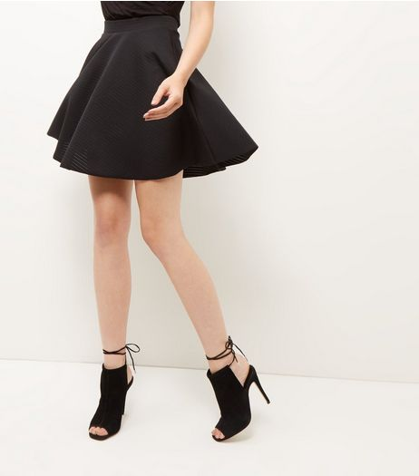 Black Sheer Ribbed Skater Skirt  | New Look