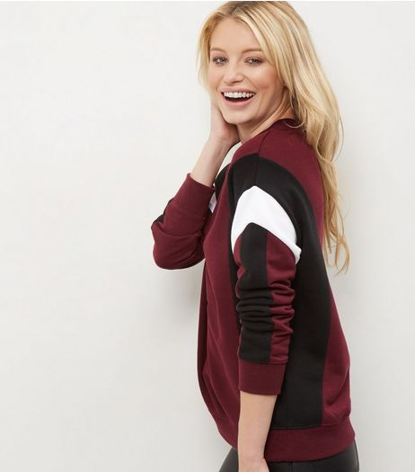Red Colour Block Funnel Neck Sweater | New Look