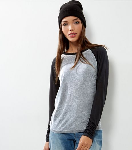 Tall Grey Long Sleeve Raglan T-Shirt | New Look