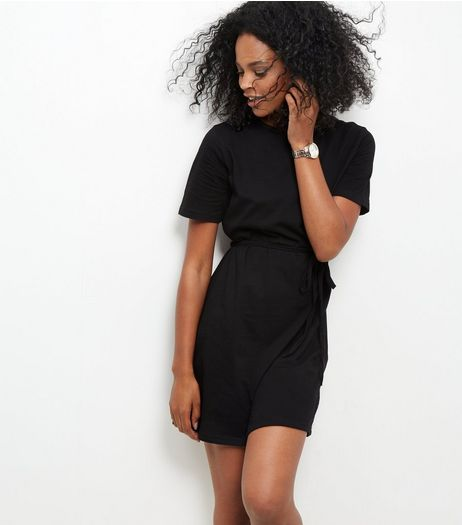 Black Tie Waist Short Sleeve Tunic Dress  | New Look