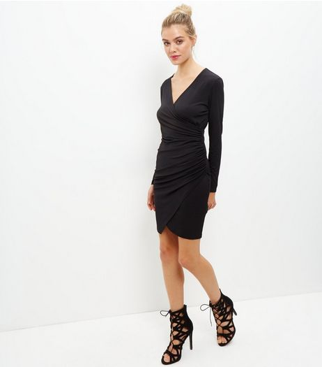 Black Ruched Side Long Sleeve Bodycon Dress  | New Look