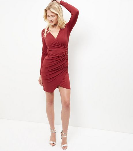 Burgundy Ruched Side Long Sleeve Bodycon Dress  | New Look