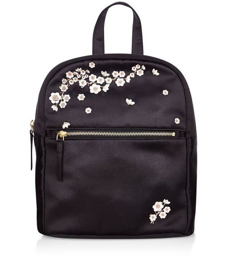Black Flower Embroidered Mini Backpack | New Look