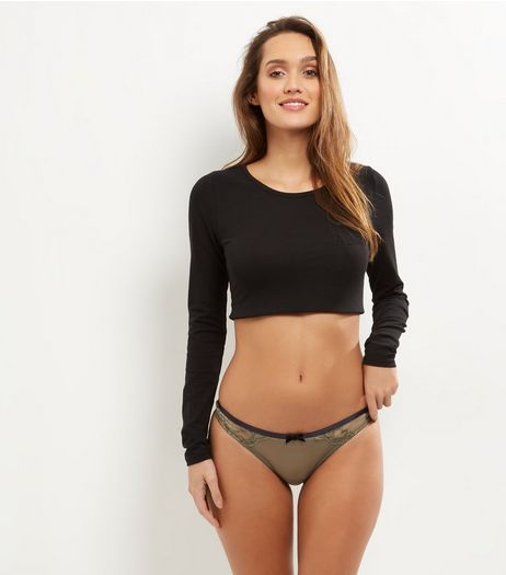 Olive Green Lace And Mesh Scallop Hem Brazilian Briefs | New Look