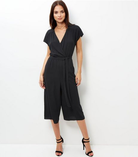 Black Wrap Front Culotte Jumpsuit  | New Look