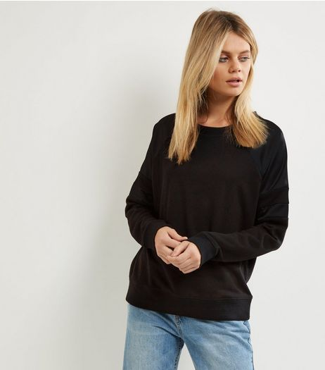 Black Satin Panel Long Sleeve Sweater  | New Look