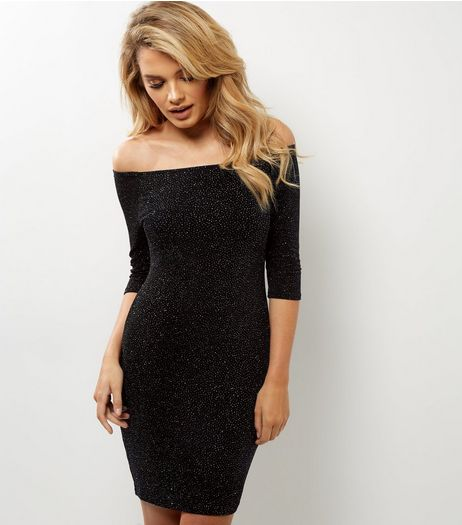 Navy Glitter Bardot Neck 3/4 Sleeve Bodycon Dress | New Look