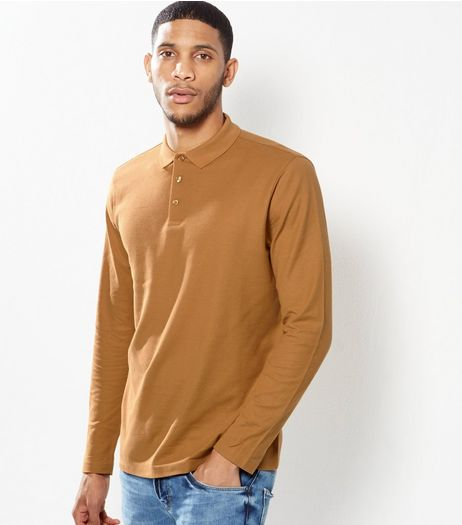 Mustard Long Sleeve Cotton Polo Shirt | New Look