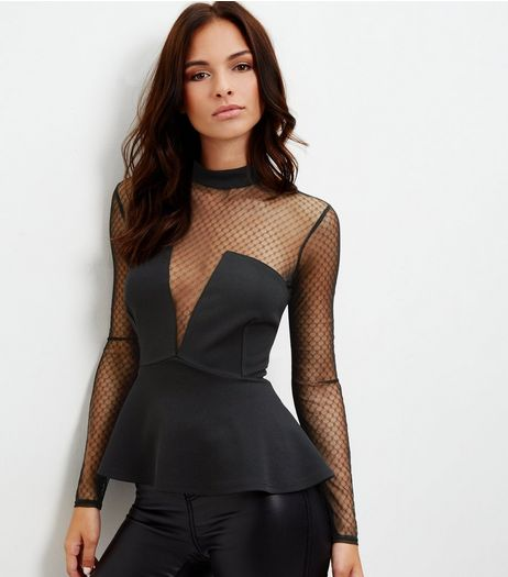 Black Polka Dot Mesh Panel Peplum Top | New Look