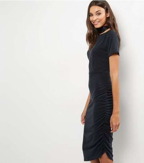 Dark Grey Ruched Side Short Sleeve Midi Dress | New Look