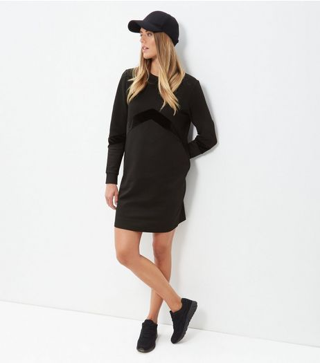 Blaack Velvet Chevron Tunic Dress | New Look
