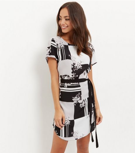 Black Geo Floral Print Belted Tunic Dress | New Look