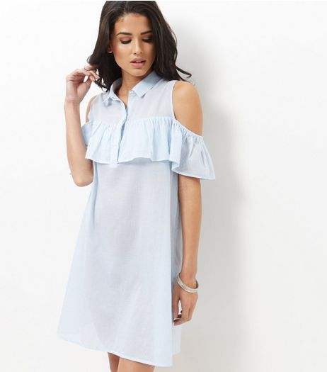 Influence Blue Cold Shoulder Frill Shirt Dress | New Look