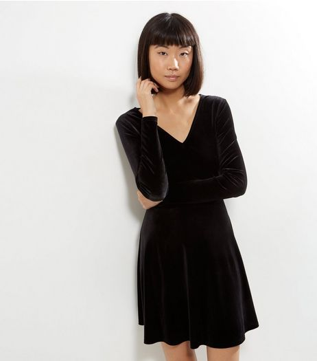 Black Velvet V Neck Long Sleeve Skater Dress | New Look
