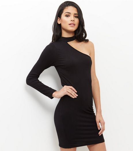 Influence Black Choker One Shoulder Dress | New Look