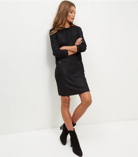 Black Coated Snakeskin Textured Tunic Dress  | New Look
