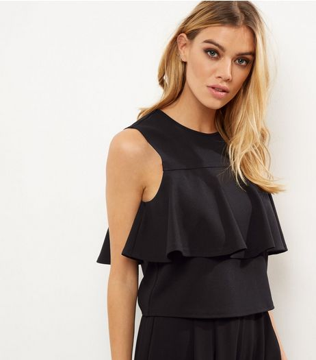 Black Scuba Frill Trim Sleeveless Top  | New Look