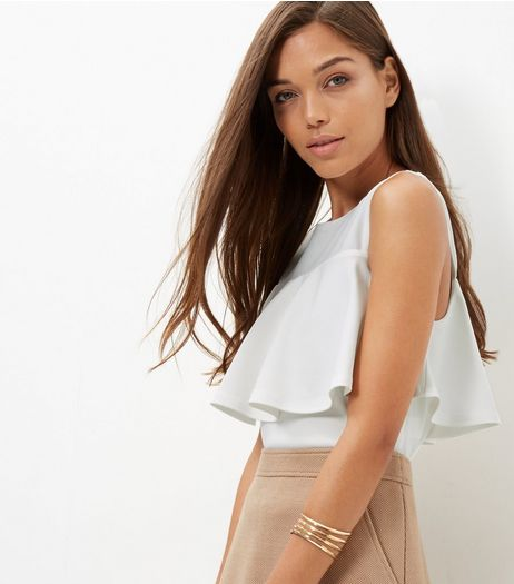 Cream Scuba Ruffle Trim Sleeveless Top  | New Look