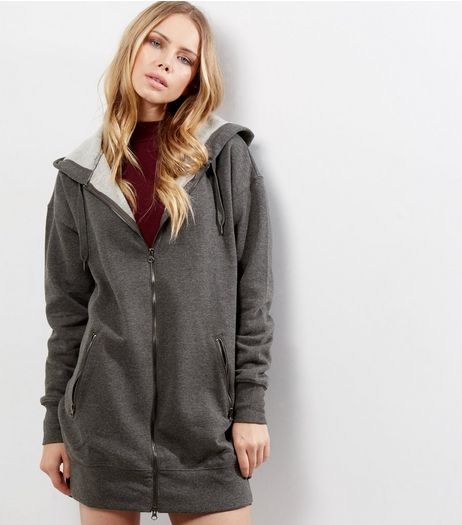 Dark Grey Zip Pocket Longline Hoodie  | New Look