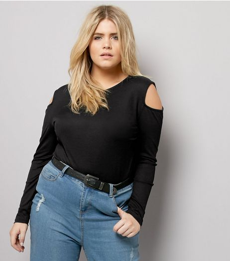 Curves Black Ribbed Cold Shoulder Top | New Look