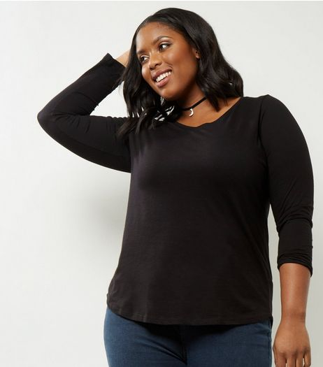 Curves Black V Neck Long Sleeve Top | New Look