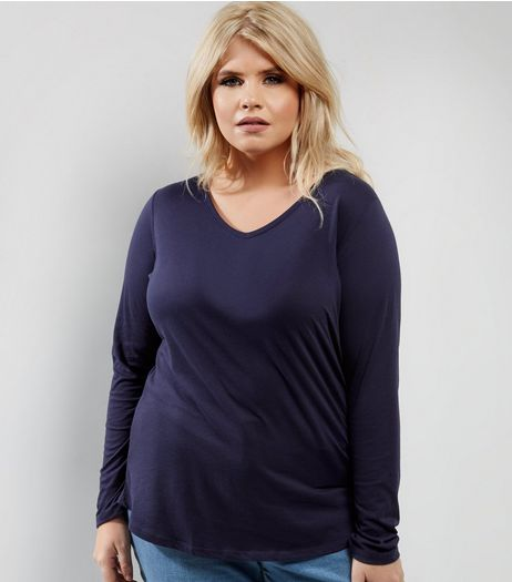Curves Navy V Neck Long Sleeve Top | New Look
