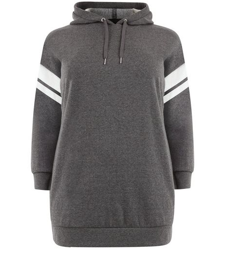 Curves Dark Grey Stripe Longline Hoodie | New Look